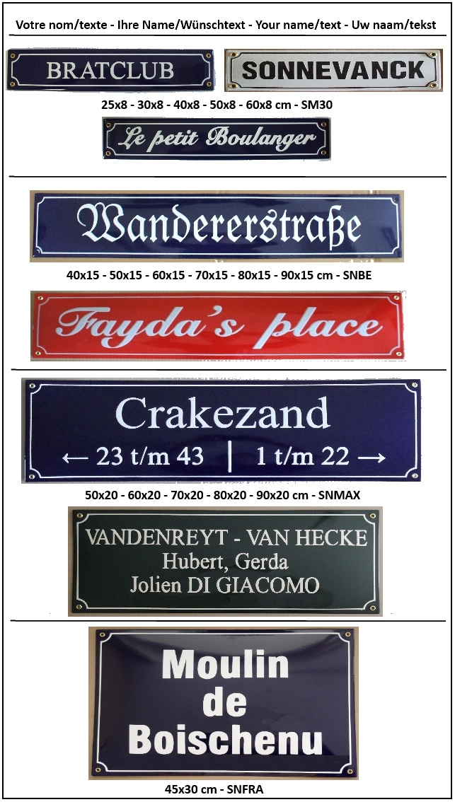 Plaques de rue emaillees, Strassenschilder email, Strassenschild emaille, Street signs enamel, Straatnaambord, straatnaamborden.